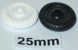 "25 mm (1"") plastic old style wheels"