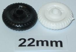 "22 mm (7/8"") plastic old style wheels"